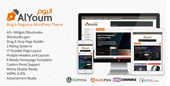 AlYoum | Retina Magazine and Blog WordPress Theme - Blog / Magazine WordPress