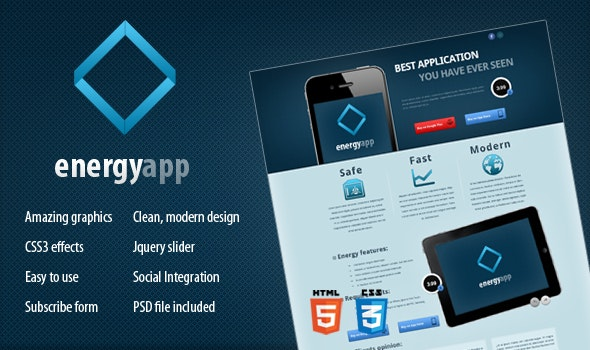 Energy App - Landing Page - Software Technology