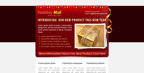 Holiday Mail - 5 COLORs - Newsletters Email Templates