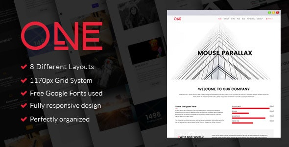 One - Parallax HTML Template - Creative Site Templates