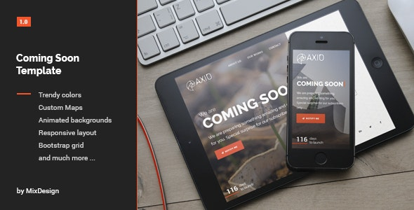 Axio - Coming Soon Template - Under Construction Specialty Pages