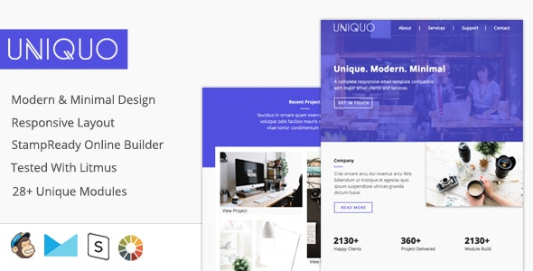 Uniquo - Multipurpose Responsive Email Design For Startups And Marketers + Online Builder - Email Templates Marketing