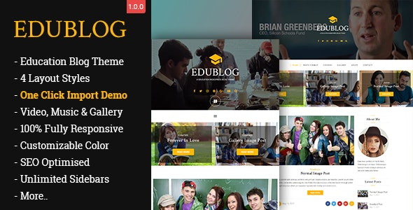 EduBlog– A Education WordPress Blog Theme - Personal Blog / Magazine