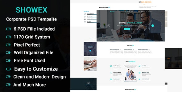 SHOWEX - Landing Page Corporate PSD template - Business Corporate