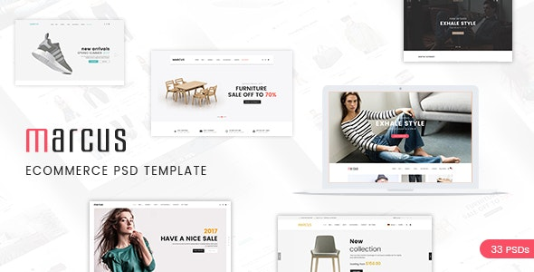 Marcus - Multipurpose WooCommerce and Magento PSD Template - Retail Photoshop