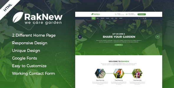 RakNew - Gardening and Landscaping HTML Template - Business Corporate