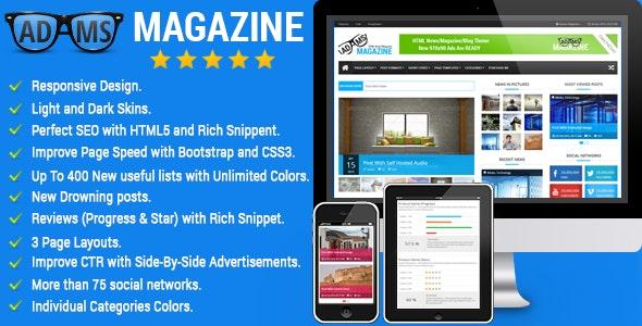Adams Magazine - Responsive Magazine/Blog Theme - Creative Site Templates
