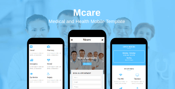 Mcare - Medical and Health Mobile Template - Mobile Site Templates