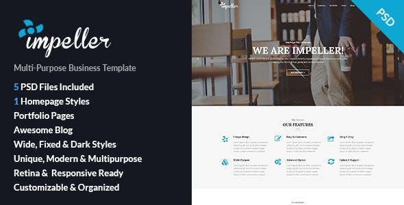 Impeller - Onepage Business PSD Template - Business Corporate