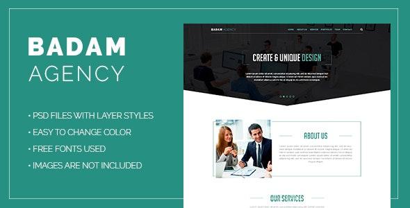 Badam Agency - One Page PSD - Corporate Photoshop