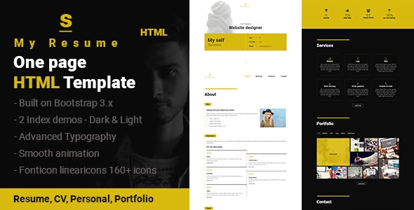 S - Resume, CV, Portfolio One Page HTML Template - Personal Site Templates