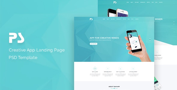 PS-App Landing Page PSD Template. - Technology Photoshop