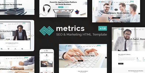 Metrics Business - SEO, Digital Marketing, Social Media HTML Template - Marketing Corporate