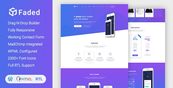 Faded - Responsive App Landing Page WordPress Theme + RTL by