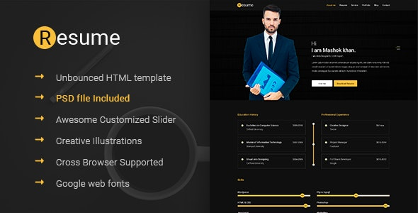 Resume -  Resume, CV &amp, vCard & Unbounced HTML Template - Resume / CV Specialty Pages