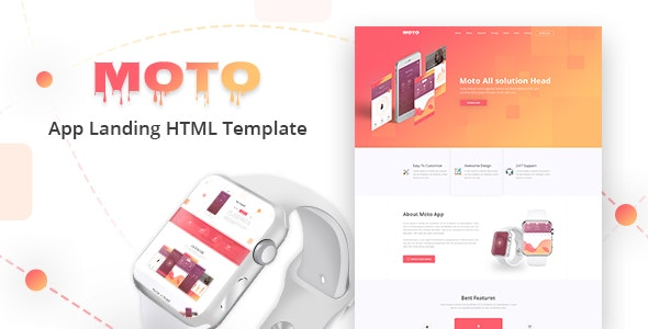 Moto – Multipurpose App Landing Page HTML Template - Technology Site Templates