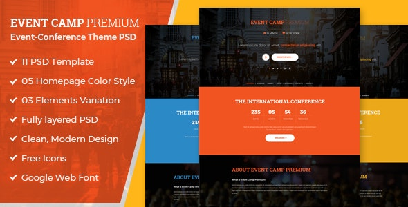 Event Camp - Premium Event Conference PSD Template - Events Entertainment