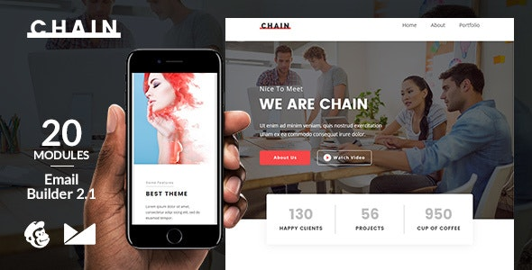 Chain Email Template + Online Emailbuilder 2.1 - Newsletters Email Templates