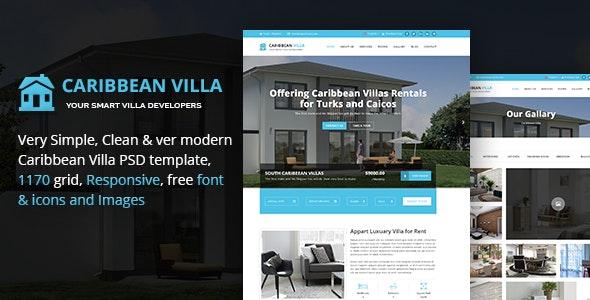 Caribbean Villa - hotel, resort, real estate business PSD Template - Corporate Photoshop