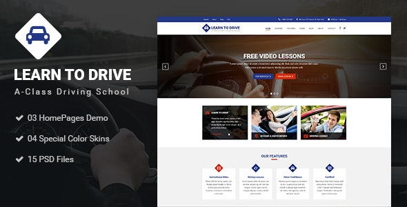 LEARNTODRIVE - Driving School PSD Template - Business Corporate