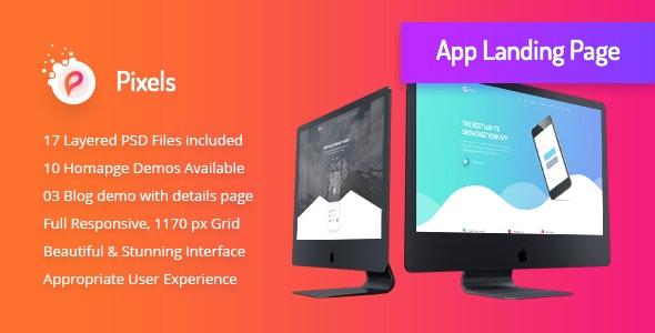 Pixels - Creative App Landing PSD Template - Creative Photoshop