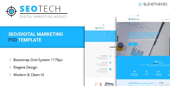 SEOTECH - SEO / Digital Marketing PSD Template - Technology Photoshop