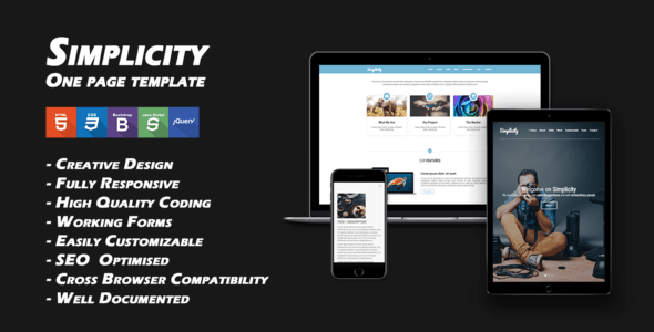 Simplicity - One Page Responsive Template - Corporate Site Templates