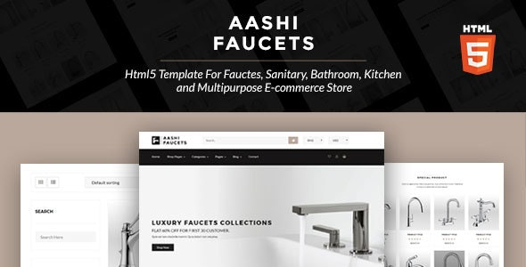 Aashi Faucets - HTML5 Template for Faucets, Sanitary, Bathroom, Kitchen and Multipurpose E-commerce - Retail Site Templates