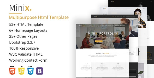 Minix. Multipurpose HTML5 Template - Corporate Site Templates
