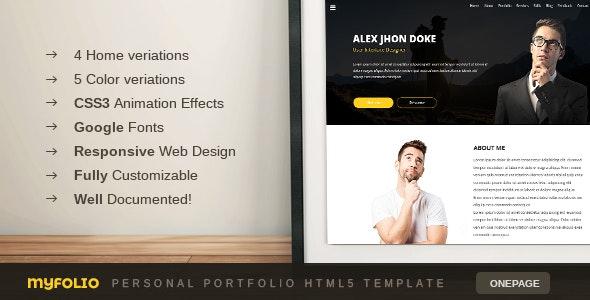 Myfolio - Onepage Personal Portfolio HTML5 Template - Portfolio Creative