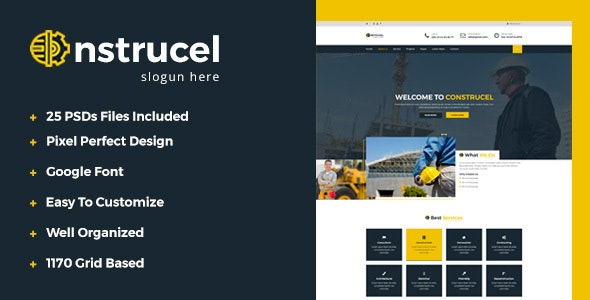 Construcel Construction PSD Template - Business Corporate
