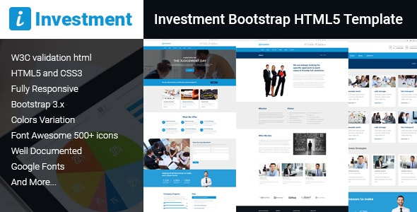 Investment Bootstrap HTML5 Template - Business Corporate