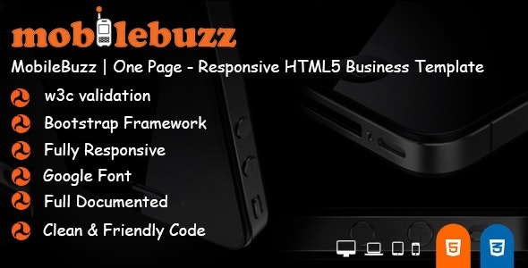 MobileBuzz | One Page - Responsive HTML5 Business Template - Business Corporate