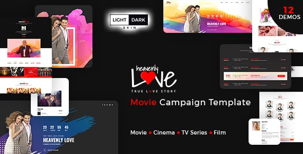 Heavenly Love - Cinema/Movie Bootstrap 3 HTML Template - Film & TV Entertainment