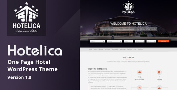Hotelica - One Page Hotel WordPress Theme - Travel Retail