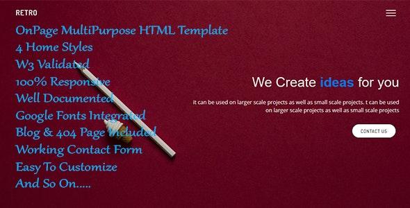Retro - OnePage MultiPurpose Template - Corporate Site Templates