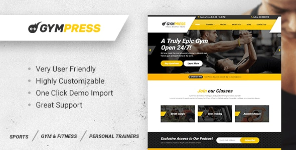 GymPress - WordPress theme for Fitness and Personal Trainers - Health & Beauty Retail