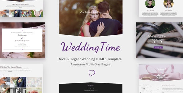 WeddingTime - Multipurpose One/Multipage Wedding HTML5 Template - Wedding Site Templates