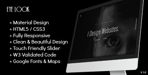 Eye-Look Personal Portfolio HTML5 Template - Personal Site Templates
