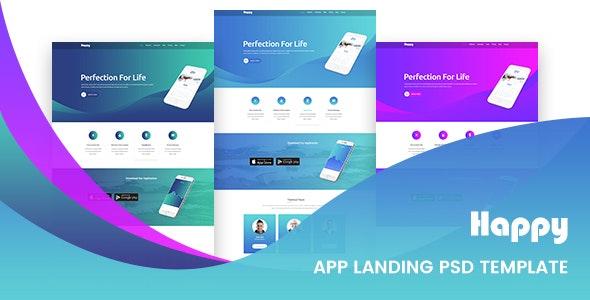 Happy App Landing Page PSD Template - Creative Photoshop