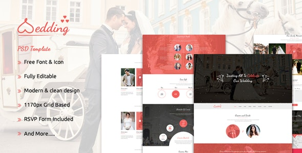 The Wedding - Bootstrap Responsive PSD Template - Events Entertainment