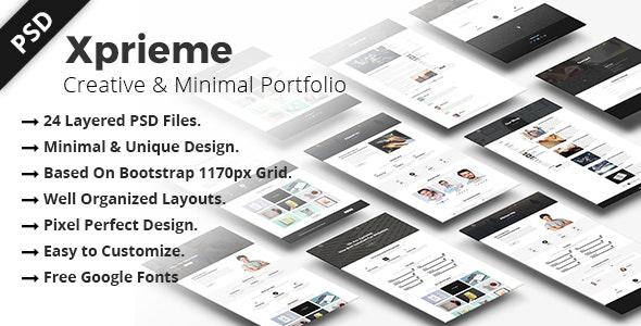 Xprieme - Creative and Minimal Portfolio PSD Template. - Portfolio Creative