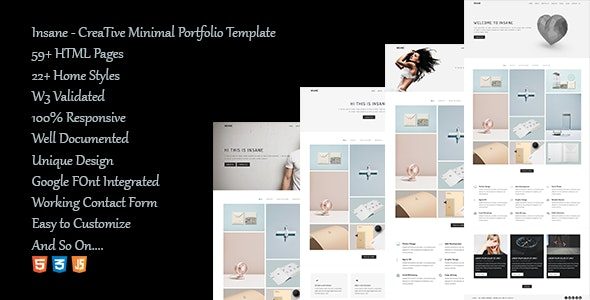 Insane - Creative Minimal Portfolio template - Creative Site Templates