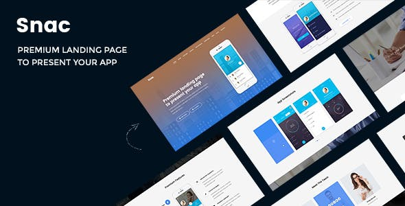 Snac - Premium Responsive App Landing Page PSD Template by AuThemes