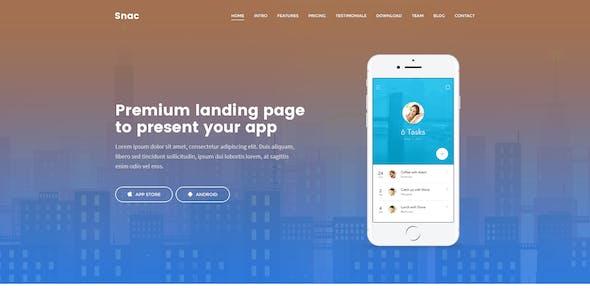 Snac - Premium Responsive App Landing Page PSD Template