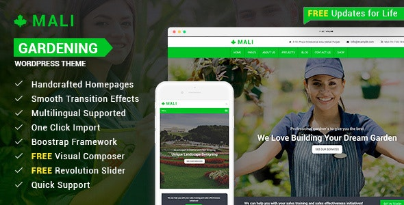 Mali - Landscaping, Gardening, and Lawn Responsive WordPress Theme - Business Corporate