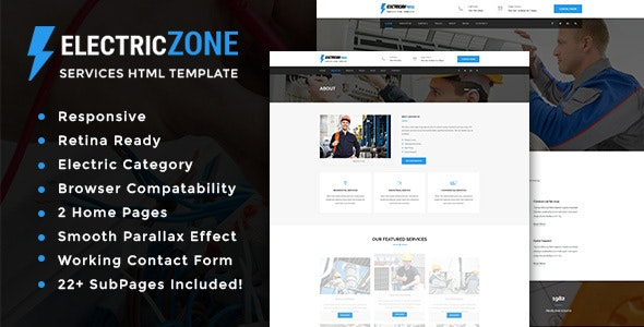 Electric Zone - Electricity Services HTML5 Template - Corporate Site Templates