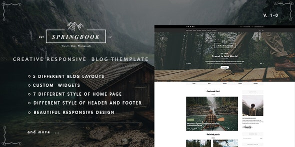Springbook - Responsive   Blog Travel Photography Template - Personal Site Templates