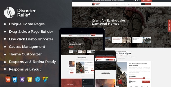 Disaster Relief A Charity WordPress Theme With Fund Raising and Events - Charity Nonprofit