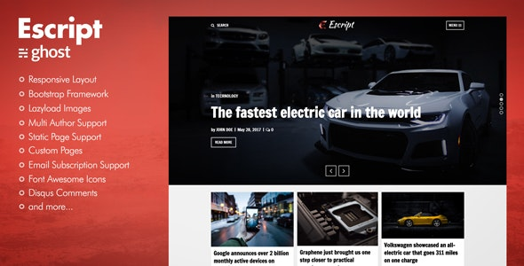 Escript - a Responsive Masonry Ghost Blog Theme - Ghost Themes Blogging
